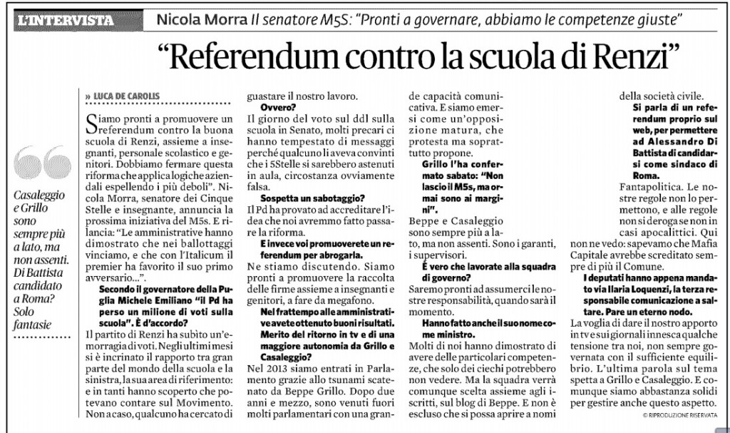m5s referendum sulla scuola