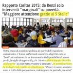 Il M5S premiato dal Rapporto Caritas 2015 sulle politiche contro la povertà in Italia