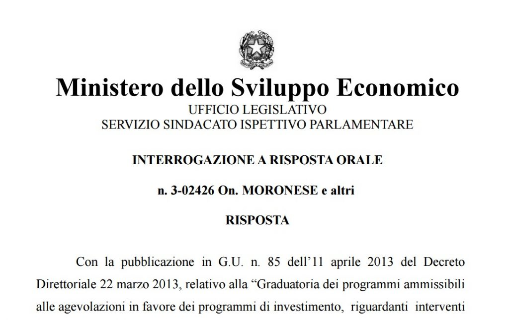 risposta interrogazione definitiva 3_02426 On MORONESE(M5S)