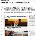 """M5S: Rifiuti speciali """"Vittoria per i cittadini di Frasso Telesino, l'impianto NON si farà"""""""
