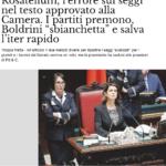 La Boldrini ha modificato il testo della legge elettorale senza l'OK dell'aula, il M5S scrive a Grasso