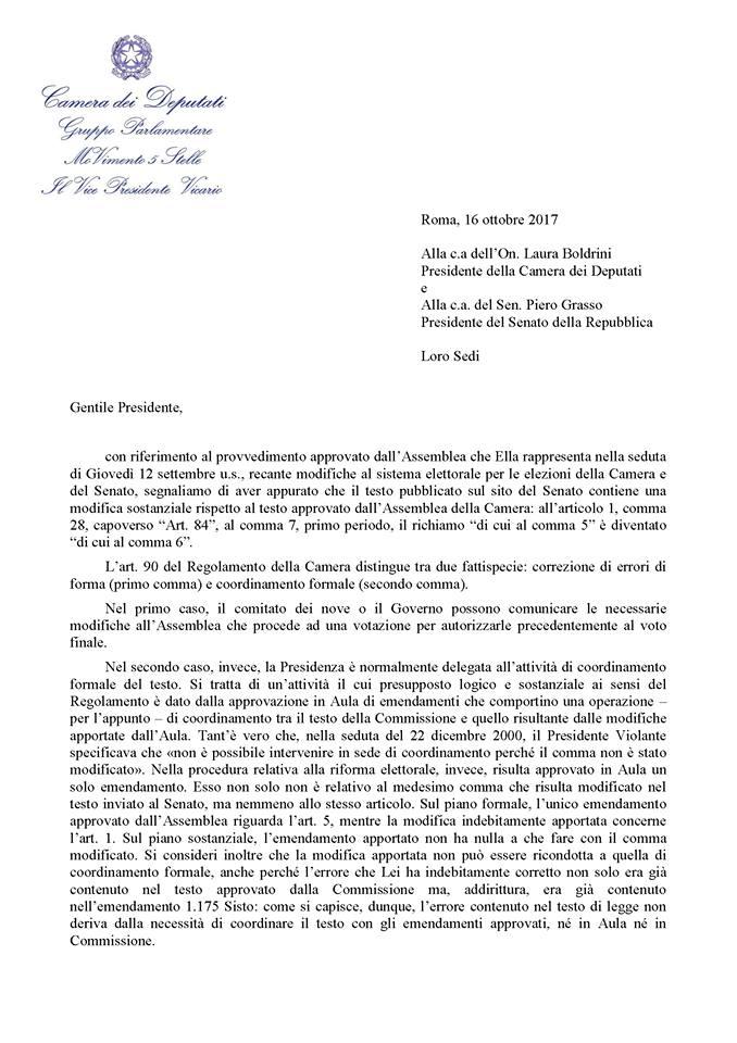 La boldrini ha modificato il testo della legge elettorale for Vice presidente della camera dei deputati